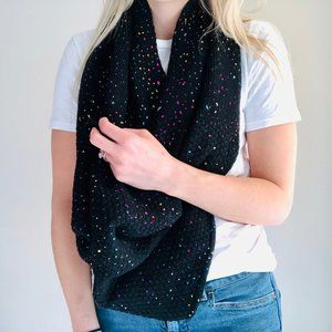 Cashmere/Wool Knit Color Spotted Infinity Scarf